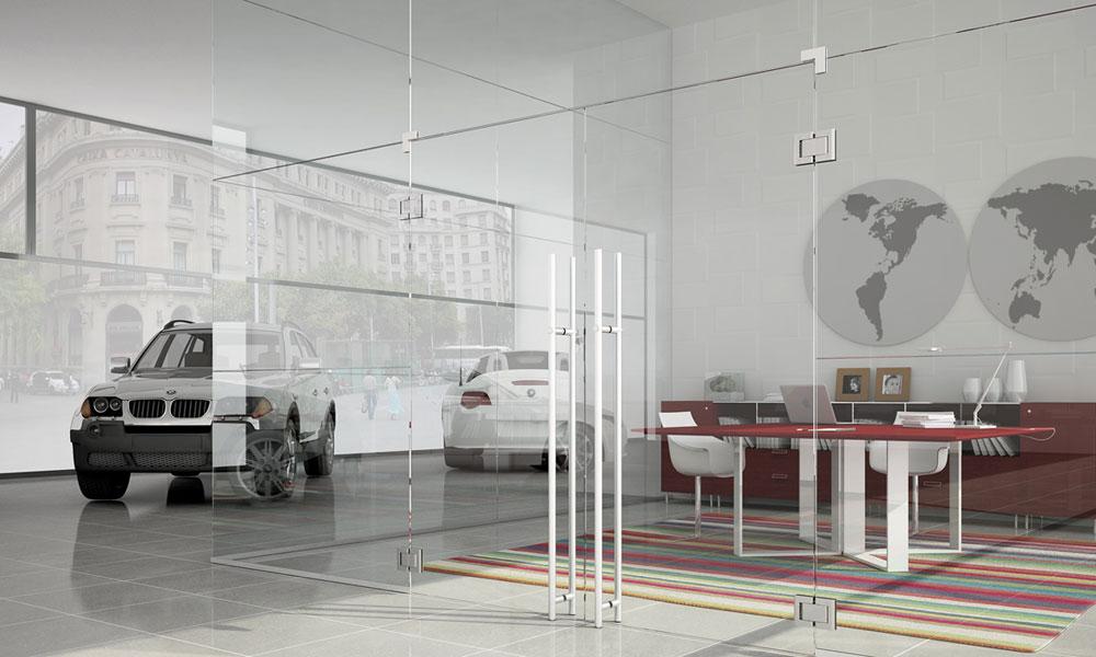 Mamparas de cristal en locales comerciales e industriales