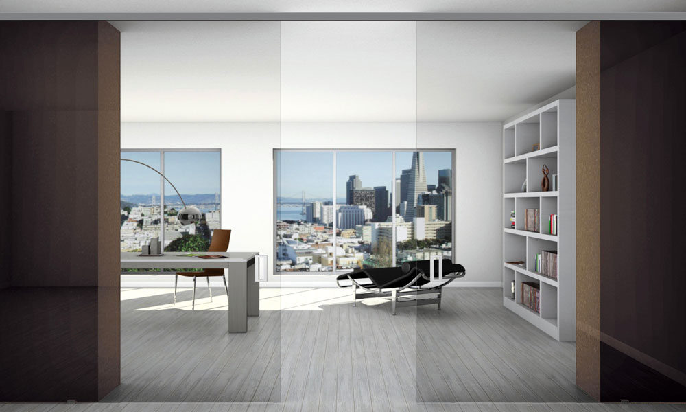 Puertas correderas de vidrio o madera para oficinas
